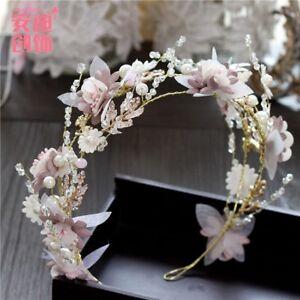Pink-Gorgeous-Crystals-Flowers-Wedding-Bridal-Crown-Tiara-Bride-Hair-Accessories