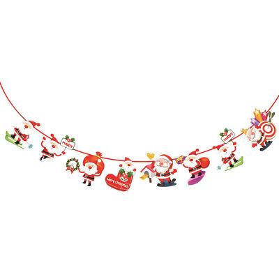 2.8M Bannière Guirlande Fanion Drapeaux Papier Suspendu Décor Fêtes Noël Maison