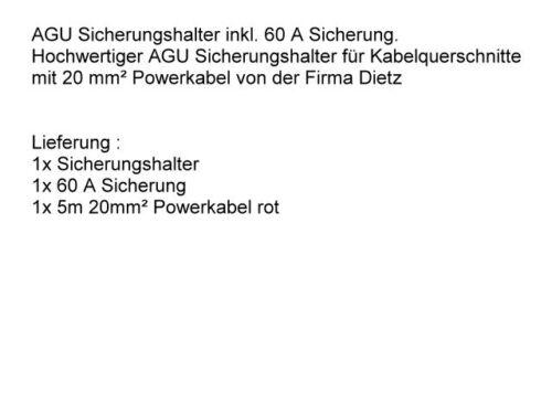 5 meter 20mm Kabel AGU Sicherungshalter mit 60 A Sicherung Carhifi KFZ Power Set