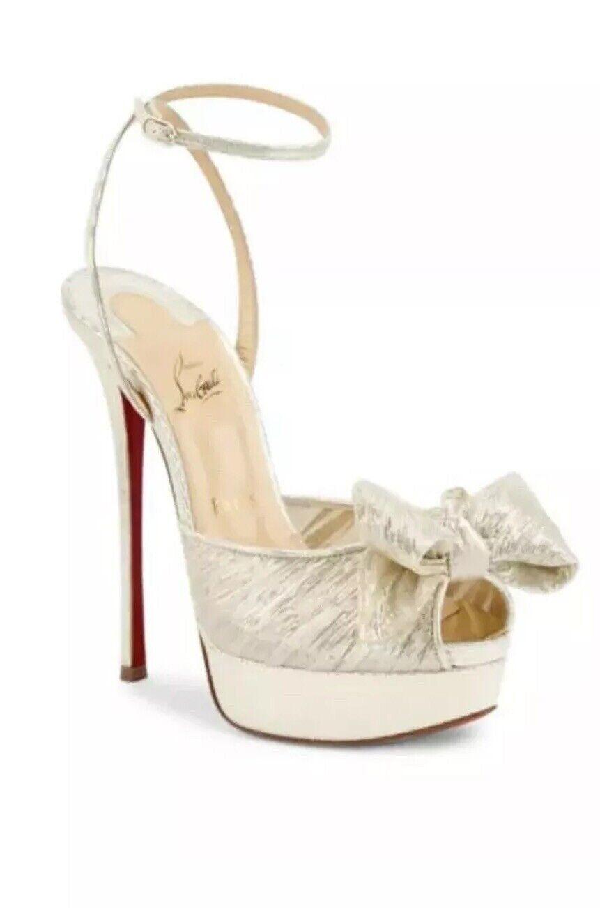 NIB Christian Louboutin Artydiva 150 oro  Bow Ankle Strap Sandal Heel Pump 36.5  prezzo più economico