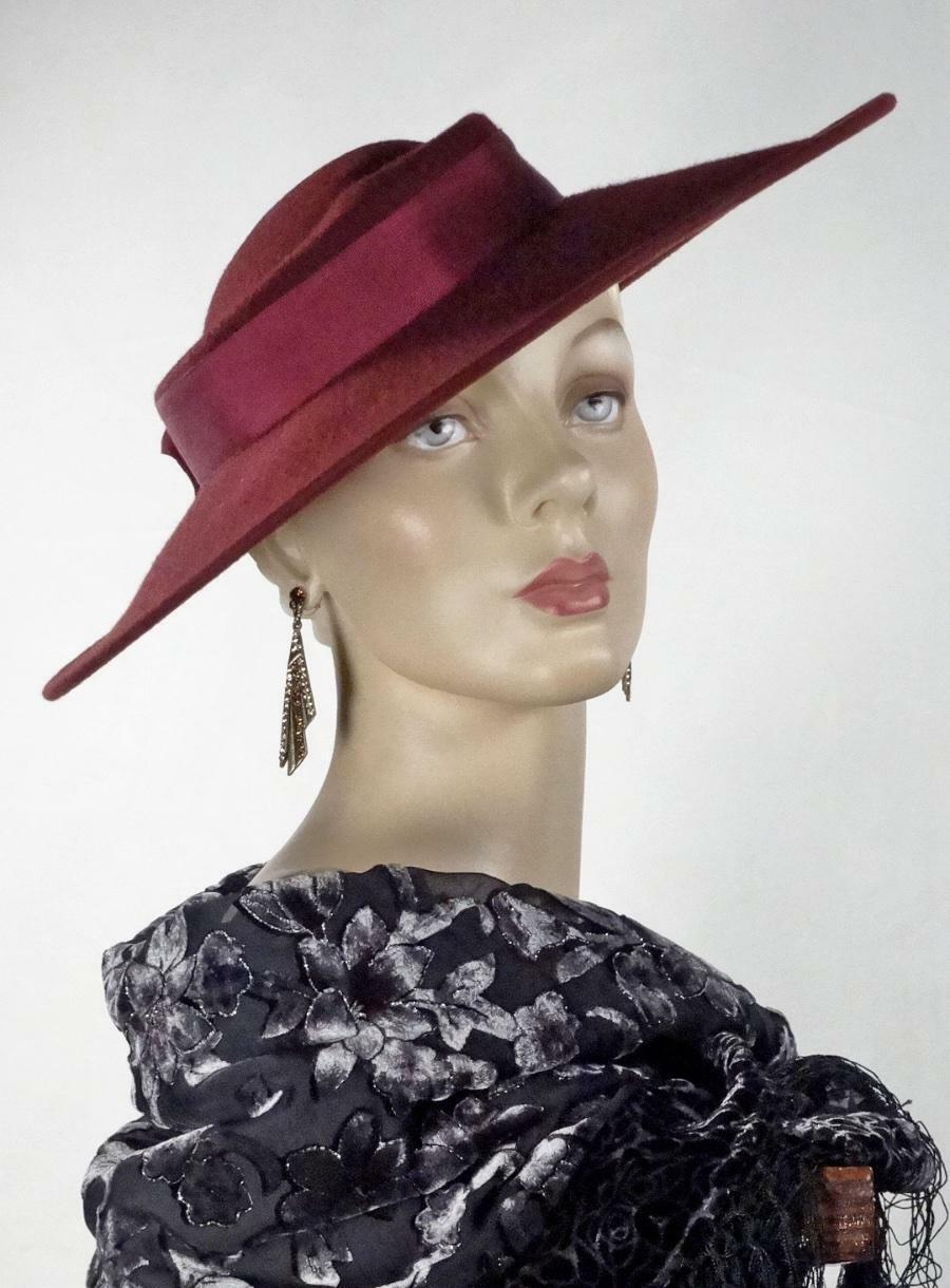 1930s 1940s Style Platter Hat Burgundy Wool Wide … - image 9