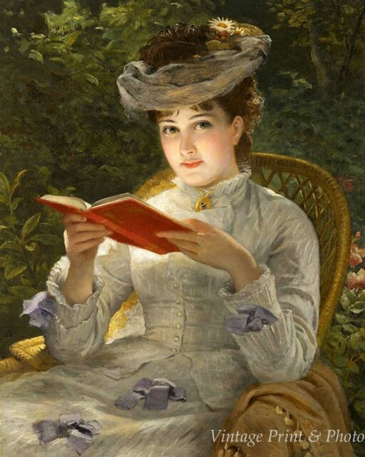 A Summer Beauty Victorian Woman Lady Reading Book Garden 8x10 Print 0681 Ebay