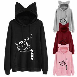 Unisex Women Dog Cat Lovers Hooded Hoodies Sweatshirt Pullover Winter Outwear