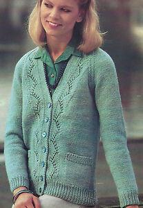 """Ladies Cardigan Knitting Pattern Lace panel 40-50"""" Larger ..."""