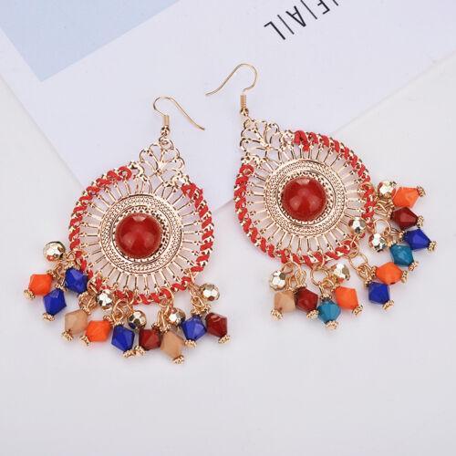 New Elegant Women Fashion Rhinestone Ear Stud Drop Dangle Earrings Crystal Chain