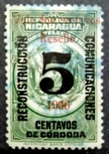 Nicaragua-1936-Overprint-Red-Surcharge-2c-On-5c-1v-Used-2