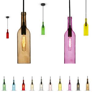 Hängeleuchte Lampe Weinflasche Glas E14 mit Gewebeleitung ...