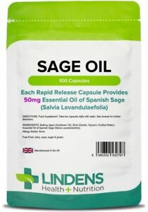 Sage Capsules (Essential Oil of Spanish Sage 50mg) (100 capsules) Menopause - UK