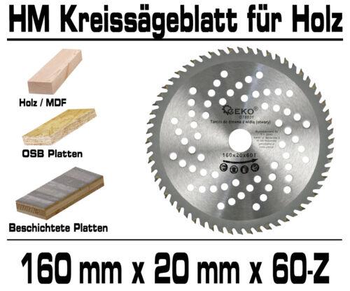 HM Kreissägeblatt Sägeblatt 160 x 20 x 60-Z Für Laminat Parket Extra Dünn G78031