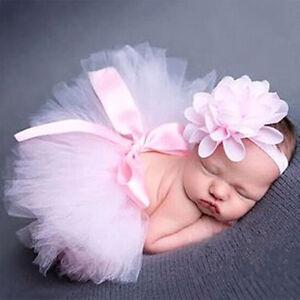 Neugeborenes-Baby-Set-Maedchen-Kleid-Stirnband-Tutu-Kostuem-Foto-Shooting-Neu