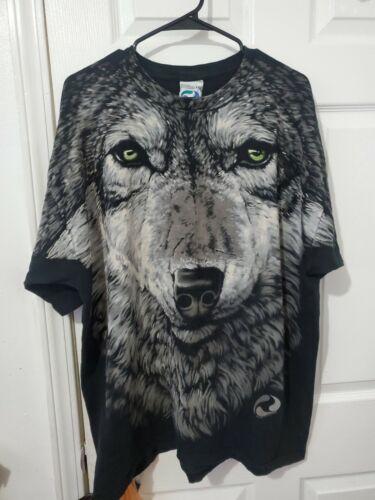 Rare Vintage John Connell 1995 Liquid Blue Wolf T