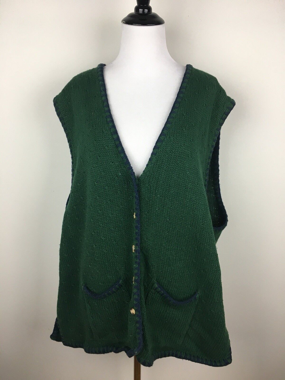 Baxter & Wells Womens Sweater Vest Hunter Green Sz 3X Cotton Blanket Stitch