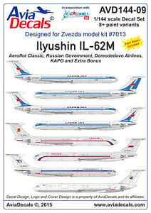 Avia Decals 1/144 Ilyushin Il-62 - Decals with Paint Masks