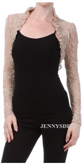 NEW CUTE PROM FORMAL SEMI SHEER LACE LONG SLEEVE SHRUG BOLERO SHORT JACKET S-3X