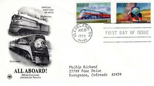 1999-COMMEMORATIVE-ALL-ABOARD-SERIES-2-STAMPS-PCS-CACHET-MACHINE-ADDRESSED-FDC