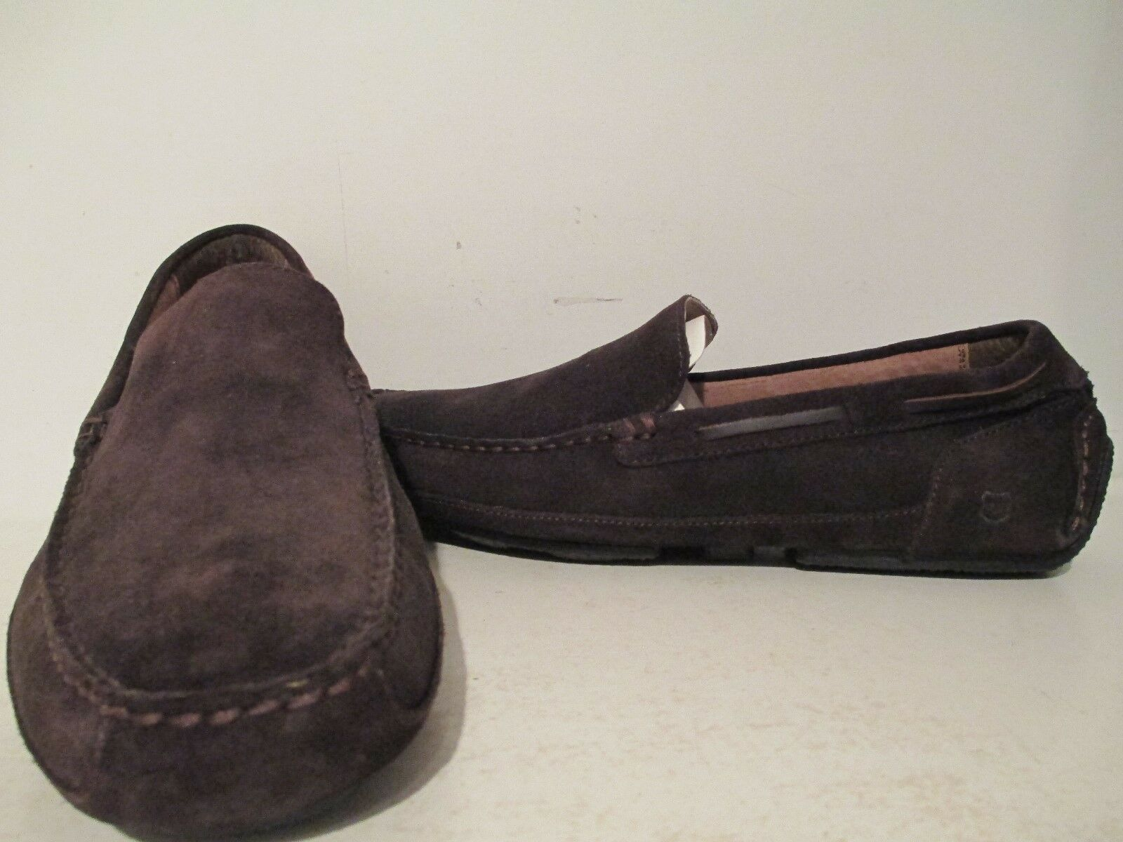 Andrew Marc Mens Empire Suede Slip On Driving Moc Cola/ Natural/ Black Size 9 D