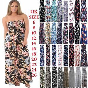 Womens-Strapless-Floral-Maxi-Dress-Ladies-Long-Sheering-Boob-tube-Bandeau