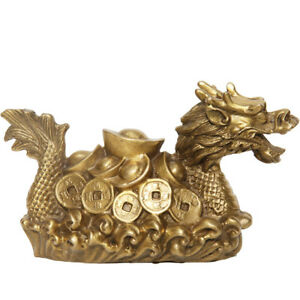 Chinese-Feng-Shui-Brass-ingot-Money-Coin-Dragon-Ship-Boat-Noble-wealth-Statue