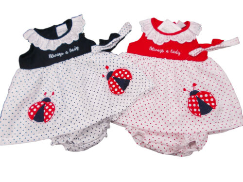 Bnwt baby girl summer lady bird dress rouge ou bleu marine costume 9-12 m 12-18 m 18-24m