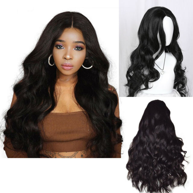 d75674b85 Hot Black Curly Wavy Brazilian Remy Human Hair Body Wave No Lace Front Hair  Wigs