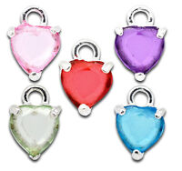10 Mixed Color Silver Plated Rhinestone Heart Charms (2 Of Each Color) Chs1022