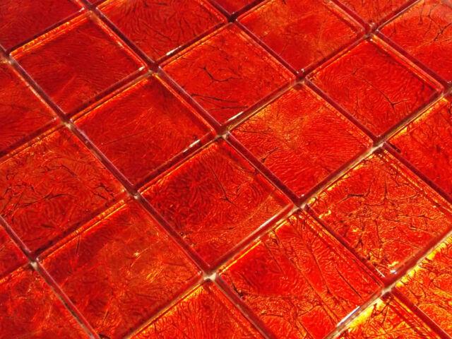 Glasmosaik Mosaik Fliesen Crystal Klarglas Metall condor rubin rot intensiv rot