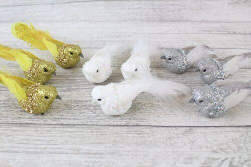 3 Small Decorative Birds Bird On Clip Great for Wedding Christmas Cakes