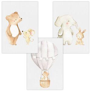 3er-Set-Wandbilder-Baby-Kinderzimmer-Deko-Poster-A4-W13-Freunde-amp-Heissluftballon