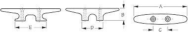 "Heavy Duty Cleat 6-1//16/"" Inch 1320-300 2 043360 Sea-Dog  Line Black Nylon Pair"