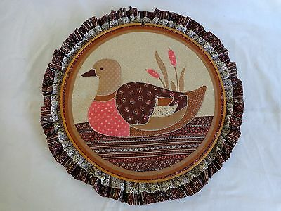 DUCK WALL DECOR Completed Embroidery Fabric Applique Frame Brown Pink