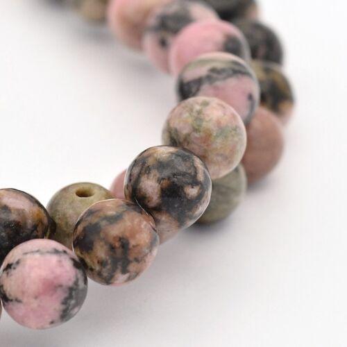 6mm Natural Rhodonite Plain Round Beads UK Strand 60
