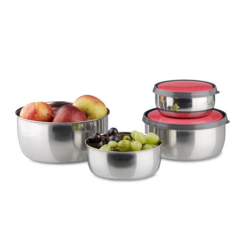 Salatschüsseln in 4 Größen Schüssel Set mit Deckel 4-teilig Edelstahlschüssel