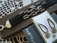 Silpada Set Leather Speed Of Light Bracelet B2183 Earrings W2179 $180