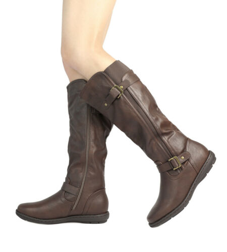 DREAM PAIRS Women Faux Fur-Lined Zip Buckle Knee High Winter Boots Wide-Calf