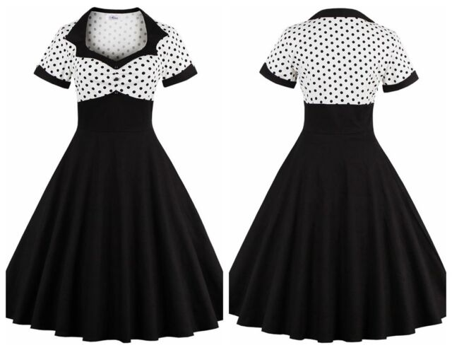 Womens Celeb Vintage Style 1950's Rockabilly Cocktail Party Evening Swing Dress
