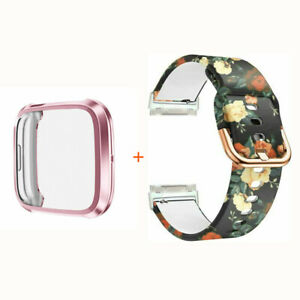 For Fitbit Versa 3 / Sense Silicone Printing Watch Band Strap withe Case Bumper