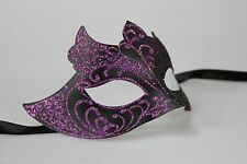Purple Black Men's Venetian Mask Masquerade Laser Cut Mardi Gras Wedding Prom