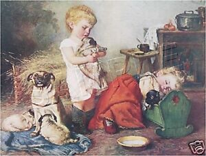 CHILDREN-and-PUGS-PLAYMATES-VINTAGE-VICTORIAN-DOG-ART