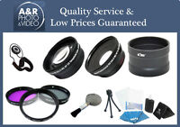Pro 2x Telephoto 0.45x Wide Angle Lens For Canon Powershot Sx400 + Filters Ring