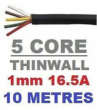 5 CORE AUTO CABLE 1.0mm 16.5 AMP CAR WIRE 10 METRES MULTICORE THINWALL 1MM  10M