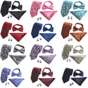 Men-Classic-Paisley-Floral-Bowtie-Necktie-Hanky-Pocket-Square-Cufflinks-Set