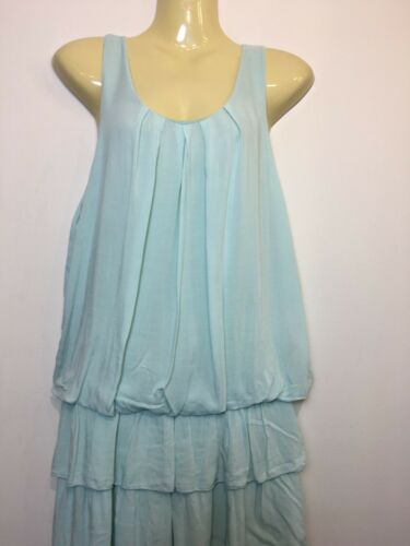 Ladies Tiered Hem Shift Dress Ruched Neck Italian Long Tunic Layered Top Stretch