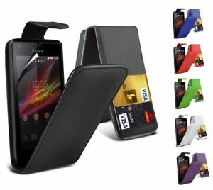 buy popular e3912 56b59 Details about PU LEATHER TOP FLIP CASE COVER FOR SONY XPERIA M C1904,  C1905, C2004, C2005