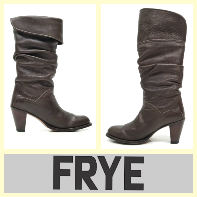 Frye  450 'Dorado Slouch' dark brown leather mid-heel boots9