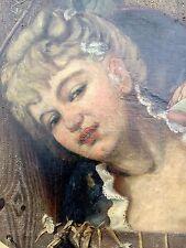 antikes Gemälde einer jungen Frau sig.  Robert Wiesendanger ? Hamburg 1881 ..