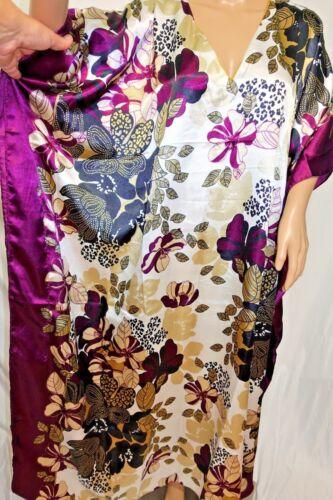 Jonathan Martin Women Plus One Free Size Shiny Bohemian Caftan Tunic Dress  Plum