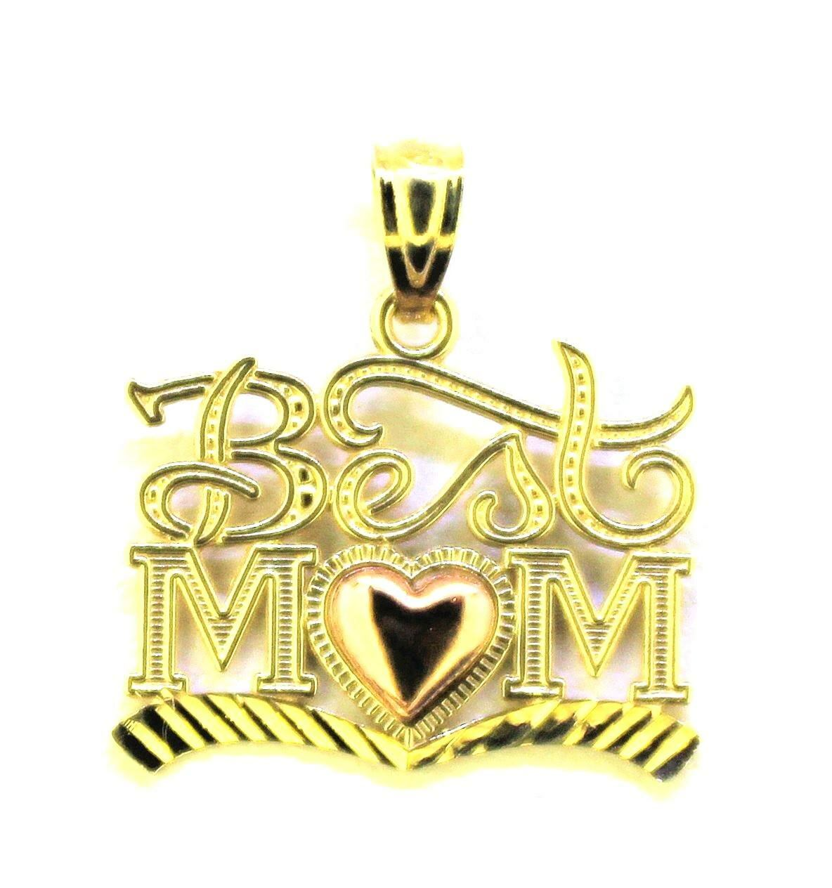 BEST MOM WITH HEART PENDANT SOLID 14 k TWO-TONE gold 1.0 g