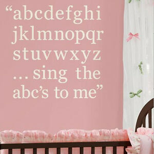 Image Is Loading A B C Song Wall Stickers 87 Ivory White Alphabet