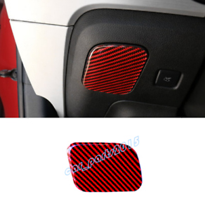 Red Real Carbon Fiber Left Storage Box Handle Cover Trim  For Ford Mustang 15-19