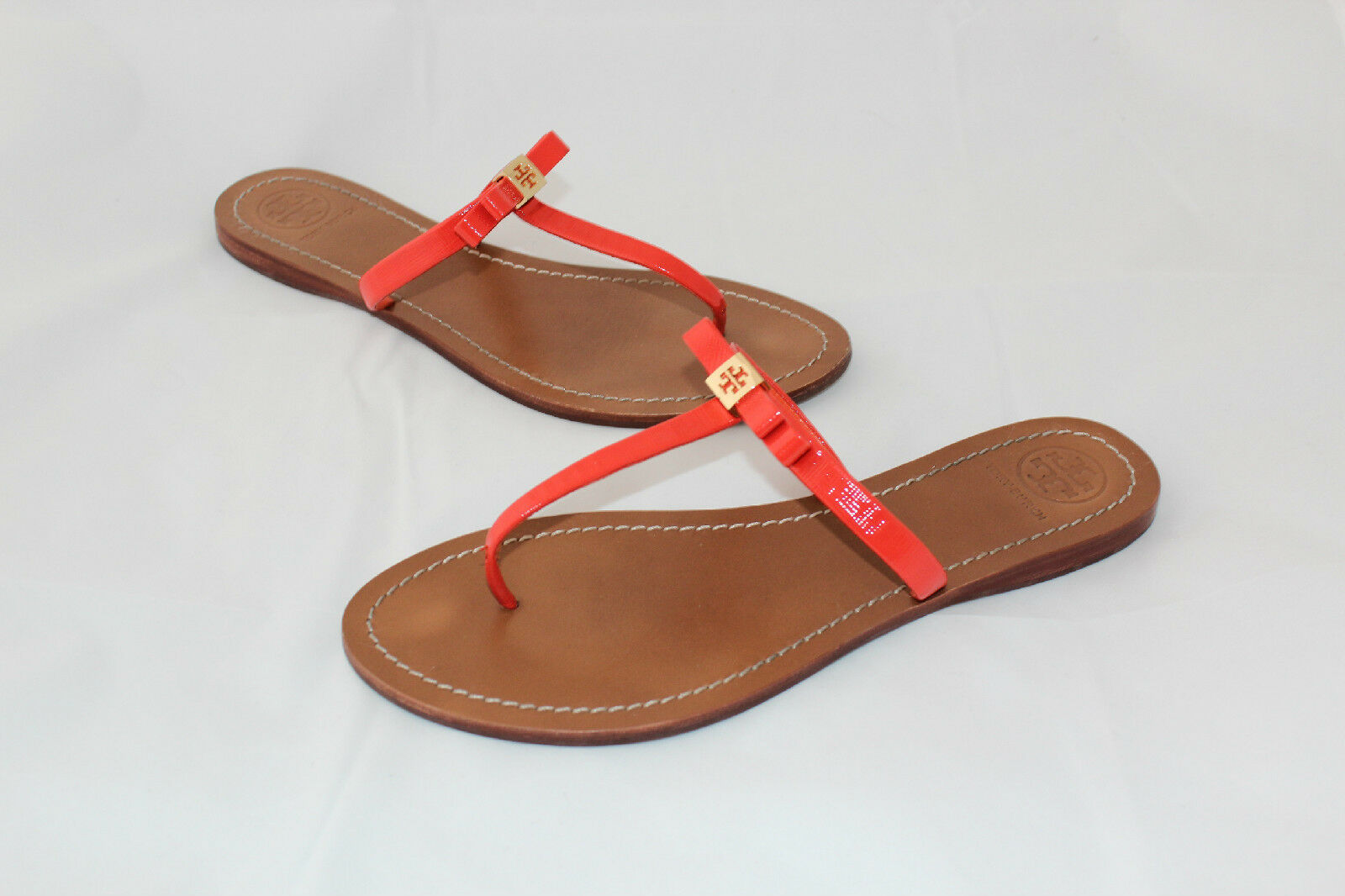 TORY BURCH Leighanne Thong Sandal Patent Leather 10 Orange Flip Flops Flats (P1)
